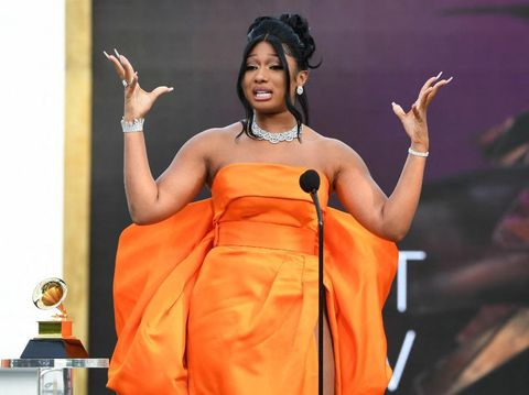 LOS ANGELES, CALIFORNIA - MARCH 14: Megan Thee Stallion accepts the Best New Artist award onstage during the 63rd Annual GRAMMY Awards at Los Angeles Convention Center on March 14, 2021 in Los Angeles, California.   Kevin Winter/Getty Images for The Recording Academy/AFP (Photo by KEVIN WINTER / GETTY IMAGES NORTH AMERICA / Getty Images via AFP)