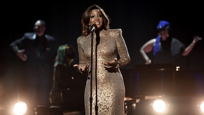 LOS ANGELES, CALIFORNIA: In this image released on March 14, Mickey Guyton performs onstage during the 63rd Annual GRAMMY Awards at Los Angeles Convention Center in Los Angeles, California and broadcast on March 14, 2021.   Kevin Winter/Getty Images for The Recording Academy/AFP (Photo by KEVIN WINTER / GETTY IMAGES NORTH AMERICA / Getty Images via AFP)