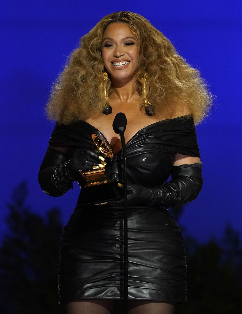 Beyonce appears in the audience at the 63rd annual Grammy Awards at the Los Angeles Convention Center on Sunday, March 14, 2021. (AP Photo/Chris Pizzello)