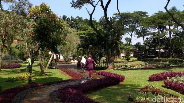 Terlihat beberapa warga sudah mulai beraktivitas di salah satu taman kota Ibu Kota yakni Taman Tabebuya.