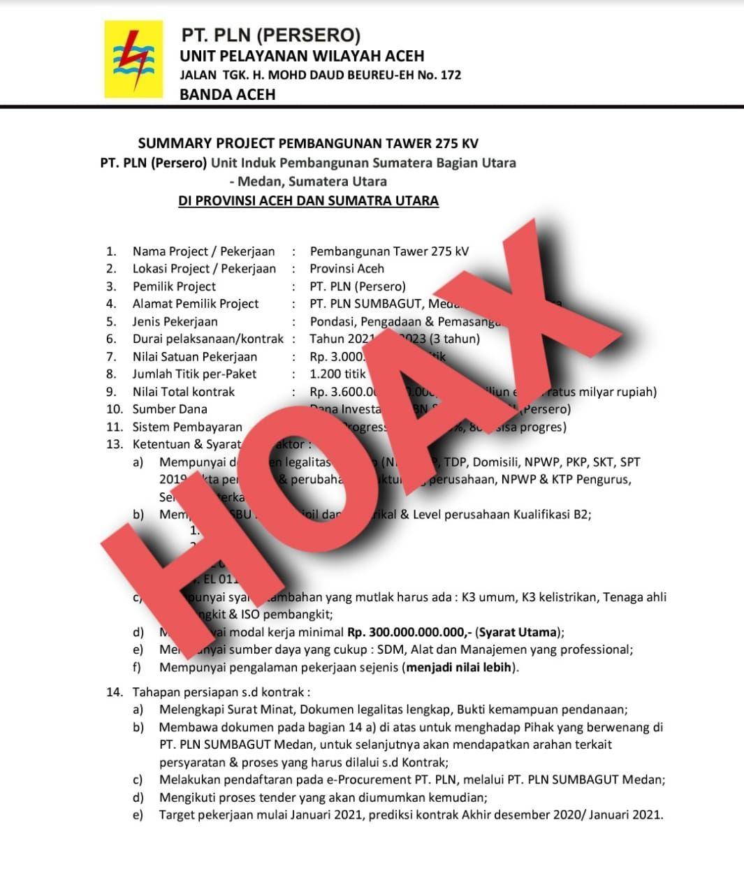 Sebaran informasi tender proyek yang mengatasnamakan PLN Aceh yang beredar di media sosial dipastikan hoax (dok Istimewa)