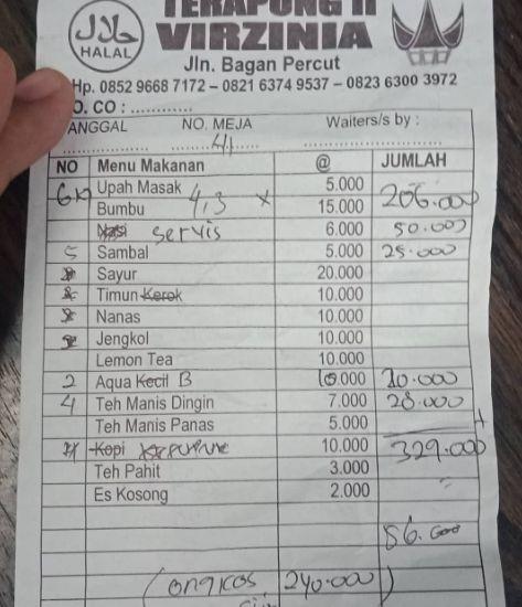 Heboh! Pengunjung Kena Biaya Service Rp 50 Ribu karena Tak Pesan Nasi di Warung Makan