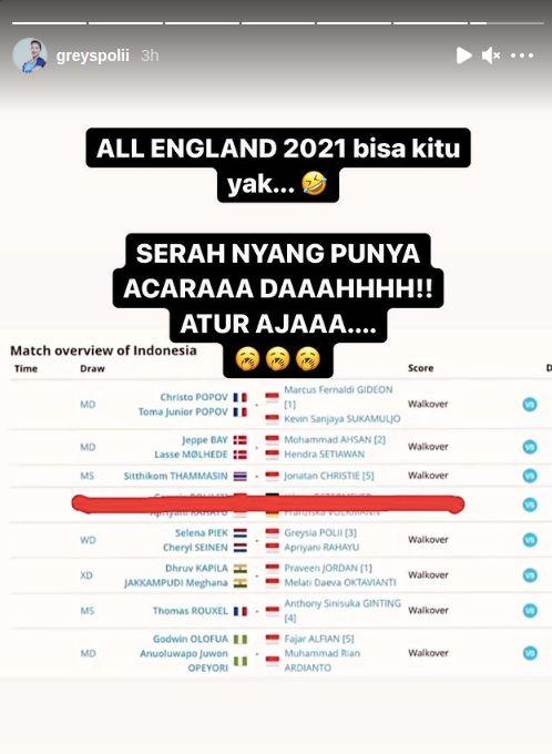 Unggahan Greysia Polii usai tim Indonesia didepak dari All England 2021.
