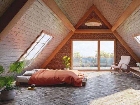 Loft attic bedroom concept