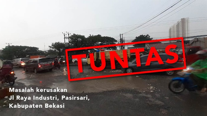 Masalah kerusakan Jl Raya Industri di Pasirsari Kabupaten Bekasi, tuntas. (Repro: Zaki Alfarabi/detikcom)