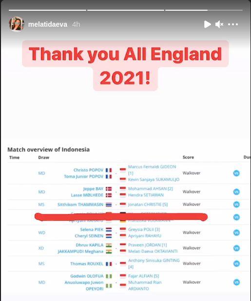 Melati Daeva Oktavianti menguncapkan 'terima kasih' untuk All England 2021.