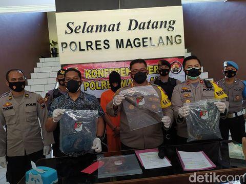 Jumpa pers kasus pembacokan adik ipar hingga tewas di Magelang, Jumat (19/3/2021).