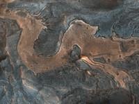 Bagian dari lantai ngarai dan dinding batu di barat daya Melas Chasma di Mars berkelok-kelok dalam pola yang menyerupai naga. Kamera HiRISE di Mars Reconnaissance Orbiter menangkap gambar itu pada 4 Juli 2007.