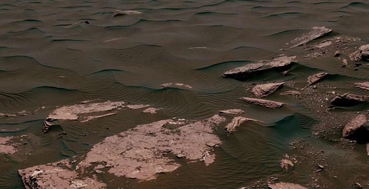 Pemandangan dari Mast Camera (Mastcam) di penjelajah Curiosity Mars NASA yang menunjukkan dua skala riak, ditambah tekstur lainnya, di bidang bukit pasir Bagnold di Gunung Sharp.