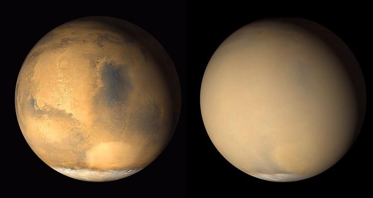 Kabut debu menutupi permukaan Mars pada tahun 2001