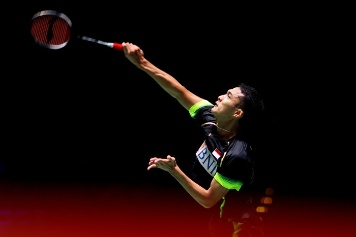 BIRMINGHAM, ENGLAND - MARCH 17: Jonatan Christie of Indonesia in action during his first round match against Kunlavut Vitidsarn of Thailand during day one of YONEX All England Open Badminton Championships at Utilita Arena Birmingham on March 17, 2021 in Birmingham, England. (Photo by Naomi Baker/Getty Images)