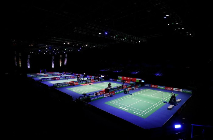 BIRMINGHAM, ENGLAND - MARCH 17: General view inside the arena as all five courts are seen ahead of day one of YONEX All England Open Badminton Championships at Utilita Arena Birmingham on March 17, 2021 in Birmingham, England. (Photo by Naomi Baker/Getty Images)