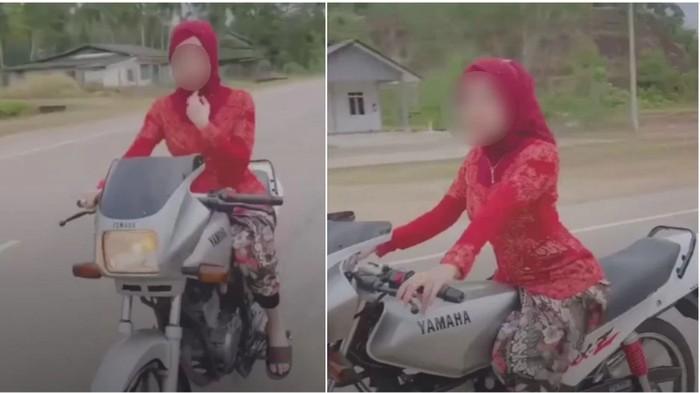 Wanita viral naik motor pakai kebaya.