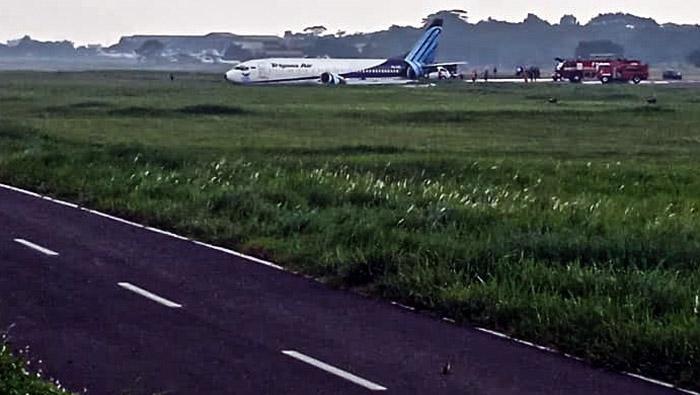 Pesawat kargo Trigana Air PSK YSF dengan rute Halim Perdanakusma - Makassar keluar dari runway (landasan pacu) saat mendarat di Bandara Halim Perdanakusma, Jakarta Timur, Sabtu (20/3/2021). ANTARA FOTO/HO/aaa/hp.