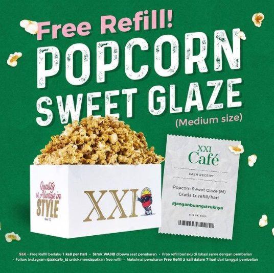 popcorn refiil gratis di bioskop xxi atau cinema21