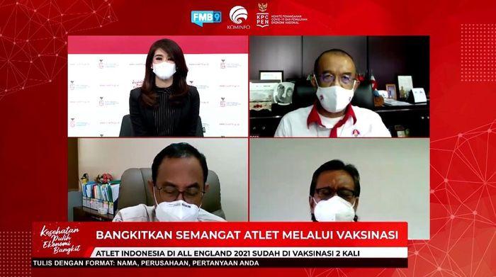 Diskusi Bangkitkan Semangat Atlet Melalui Vaksinasi pada Senin (22/3/2021) melalui Youtube Kominfo.
