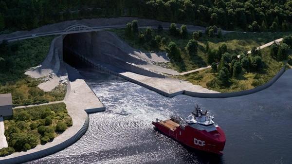 Setelah jadi, struktur terowongan akan menyerupai aula gunung yang besar dan panjang. (The Norwegian Coastal Administration)
