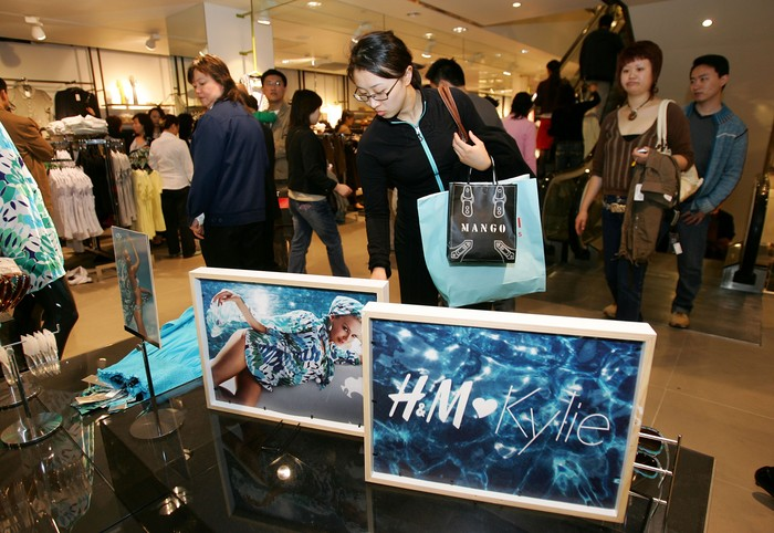 SHANGHAI, CHINA - APRIL 15: Chinese customers shop the just launched limited edition