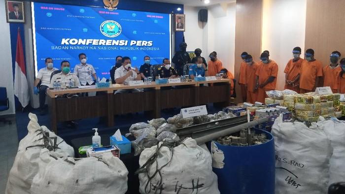 BNN ungkap 6 kasus peredaran narkoba di Aceh hingga Jakarta (Foto: Kadek/detikcom)