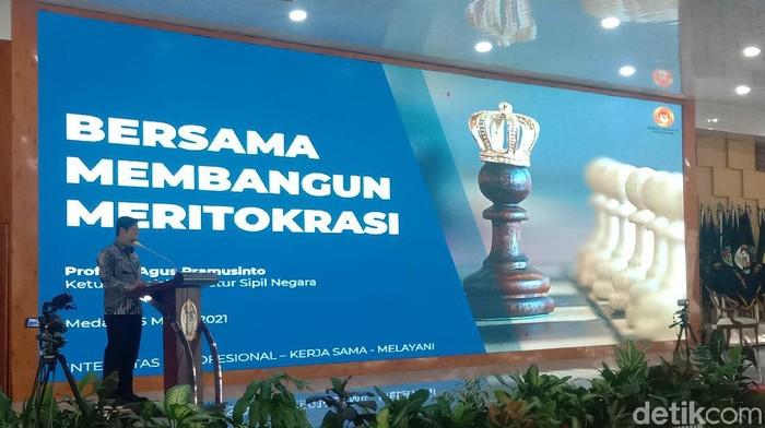 Komisioner KASN Agus Pramusinto di Medan (Ahmad Arfah Fansuri/detikcom).
