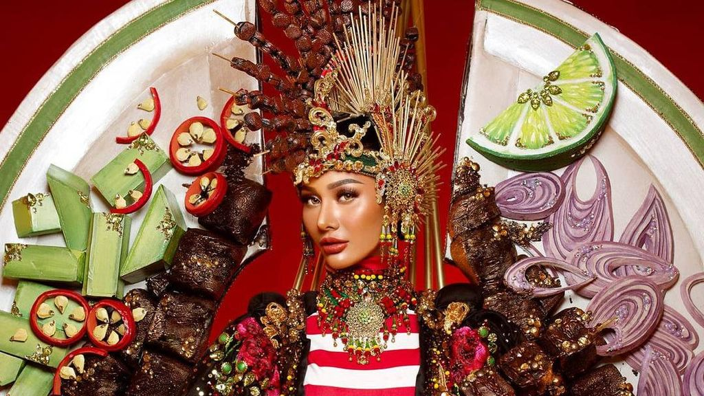 7 Aksi Aurra Kharisma Pakai Kostum Sate Madura di Miss Grand International