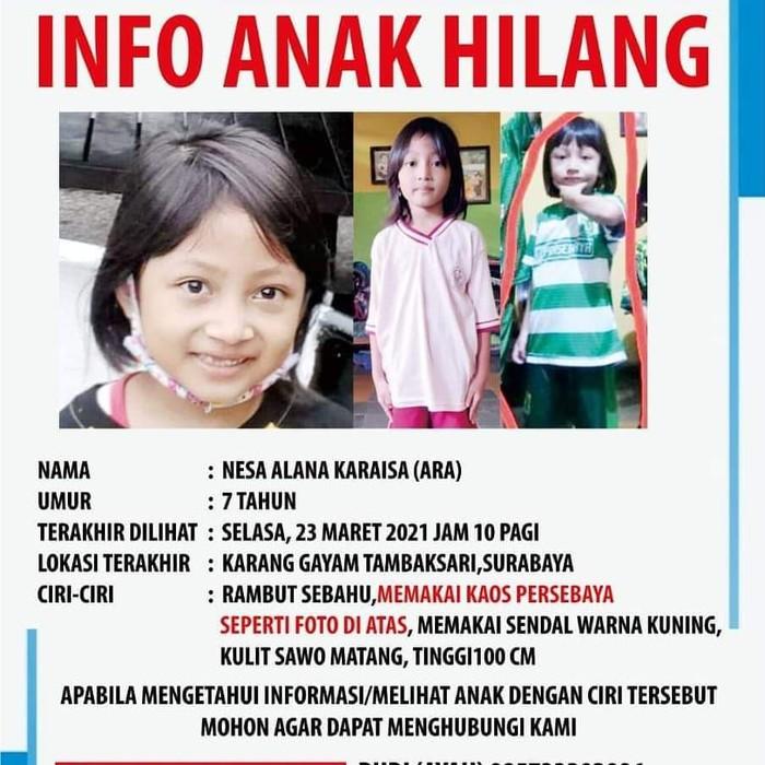 Nesa Alana Karaisa (Ara) hilang saat bermain. Putri pasangan Tri Budi Prasetyo dan Safrina Anindia Putri itu hilang sejak Selasa (23/3).