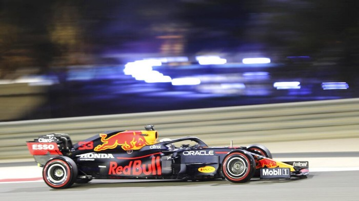 Red Bull driver Max Verstappen of the Netherlands steers his car during the qualifying session for Sundays Bahrain Formula One Grand Prix, at the Bahrain International Circuit in Sakhir, Bahrain, Saturday, March 27, 2021. The Bahrain Formula One Grand Prix will take place on Sunday. (AP Photo/Kamran Jebreili)