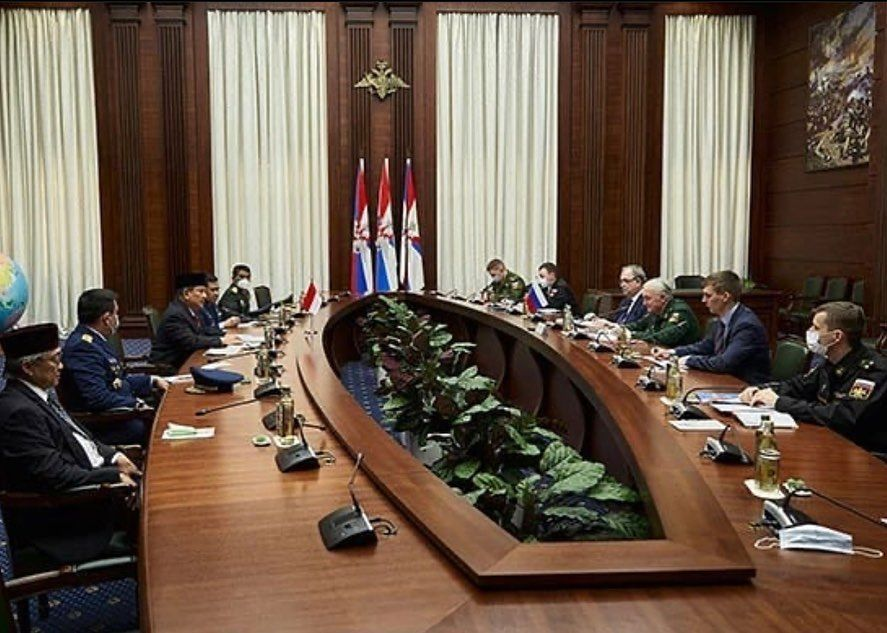 Pertemuan Prabowo dengan pihak Kemenhan Rusia di Moskow, 26 Maret 2021. (Dok situs Kemhan RI)