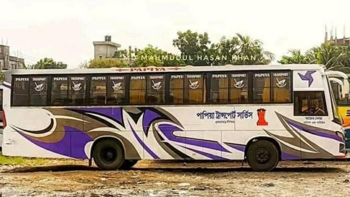 Desain livery bus di Bangladesh yang mirip livery PO Haryanto
