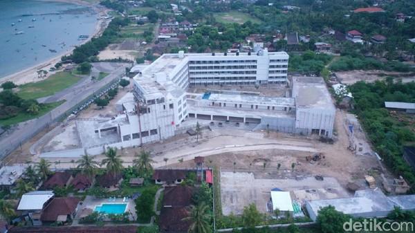 Penampakan Hotel Tastura hasil kerjasama Pemkab Lombok Tengah dan pengembang. Seperti Pullman Mandalika, bentuknya sudah mulai terlihat(Wisnu/20detik)