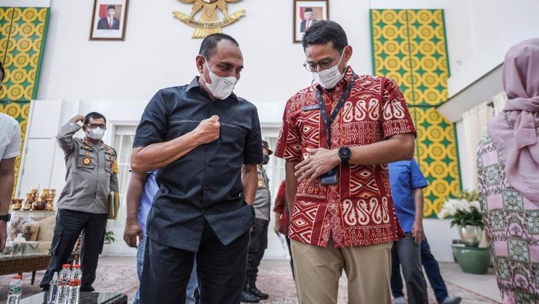 Menparekraf Sandiaga Uno dan Gubsu Edy Rahmayadi