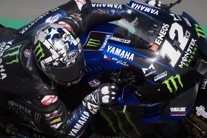 DOHA, QATAR - MARCH 27: Maverick Vinales of Spain and Monster Energy Yamaha MotoGP Team rounds the bend during the MotoGP of Qatar - Qualifying at Losail Circuit on March 27, 2021 in Doha, Qatar. (Photo by Mirco Lazzari gp/Getty Images)