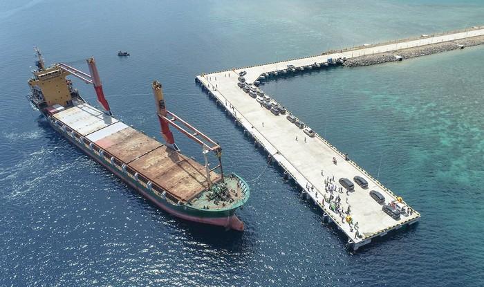 Terminal Multipurpose Wae Kelambu di Pelabuhan Labuan Bajo, NTT yang rampung dikerjakan Brantas Abipraya telah lulus uji sandar kapal perdana.
