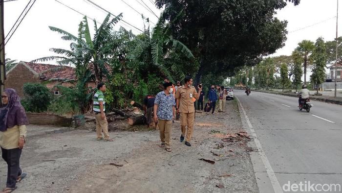 Tim BPBD Kudus mengecek lokasi angin puting beliung di Desa Gulang, Kudus, Senin (29/3/2021)