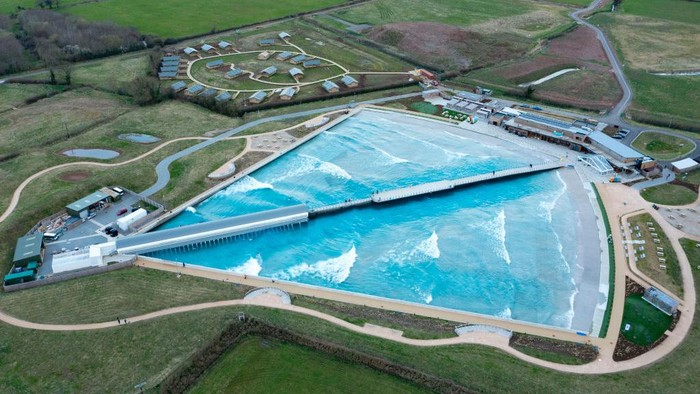BRISTOL, ENGLAND - MARCH 29: An aerial view of the Wave inland surfing centre on March 29, 2021 in Bristol, United Kingdom. Today the government eased its rules restricting outdoor socialising and sport in England, the first milestone on the government's