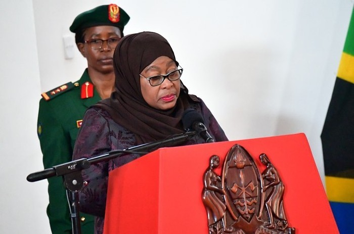 Tanzanias new president Samia Suluhu Hassan, right, is sworn in at a ceremony at State House in Dar es Salaam, Tanzania Friday, March 19, 2021. Samia Suluhu Hassan made history Friday when she was sworn in as Tanzanias first female president, following the death of her predecessor John Magufuli. (AP Photo)