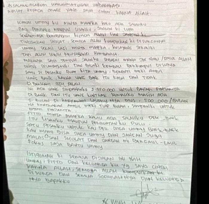 Surat wasiat pelaku bom bunuh diri di depan Gereja Katedral Makassar berinisial L (26) (dok Istimewa)  Foto surat didapatkan dari medsos dan dibenarkan pihak kepolisian