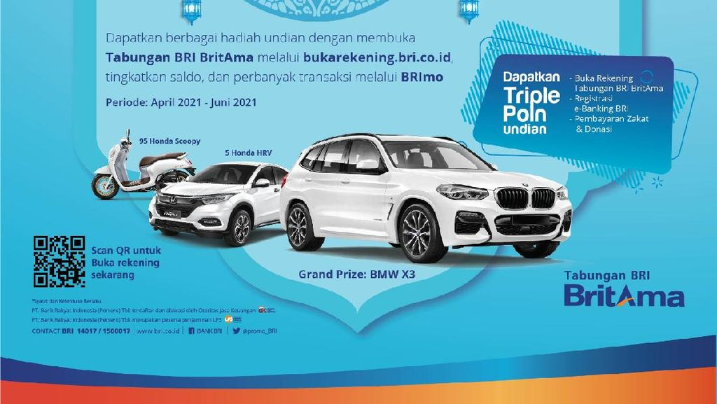 Apresiasi Nasabah, BRI Bakal Bagi-bagi Hadiah BMW X3 hingga Scoopy