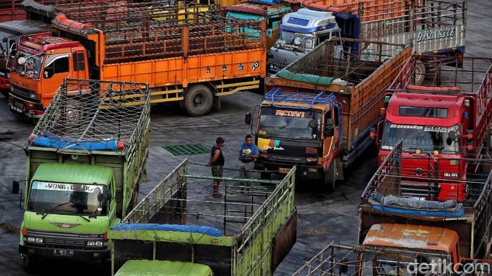 Suasana bongkar muat Sapi impor dari Australia dipindahkan ke dalam truk dari kapal di Pelabuhan Tanjung Priok, Jakarta, Senin (29/3).