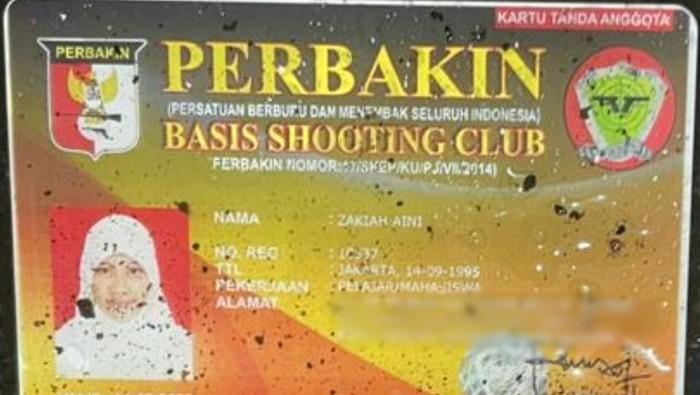 Kartu anggota shooting club Zakiah Aini, pelaku penyerangan di Mabes Polri
