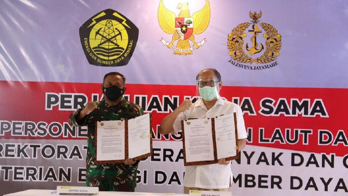 Kerja sama Kementerian ESDM dan TNI AL dalam kegiatan pengawasan migas di lepas pantai ini telah terjalin sejak 1967.