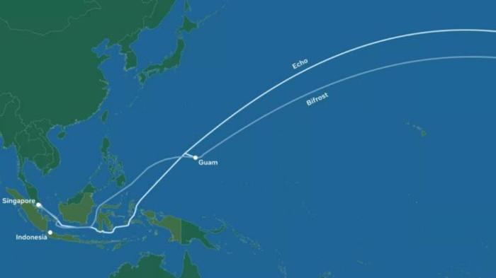 Proyek Sistem Komunikasi Kabel Laut (SKKL) Facebook-Google yang menghubungkan Amerika Utara dengan Asia Tenggara.