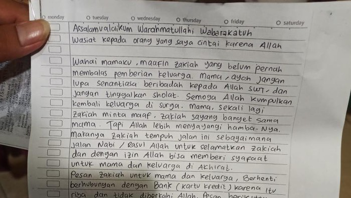 Surat wasiat Zakiah Aini, pelaku penyerangan Mabes Polri