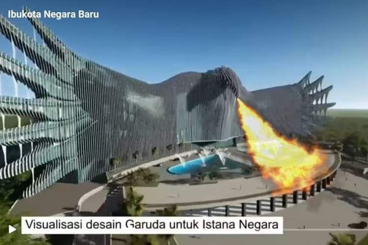 Desain Istana Negara Mengeluarkan Napas Api