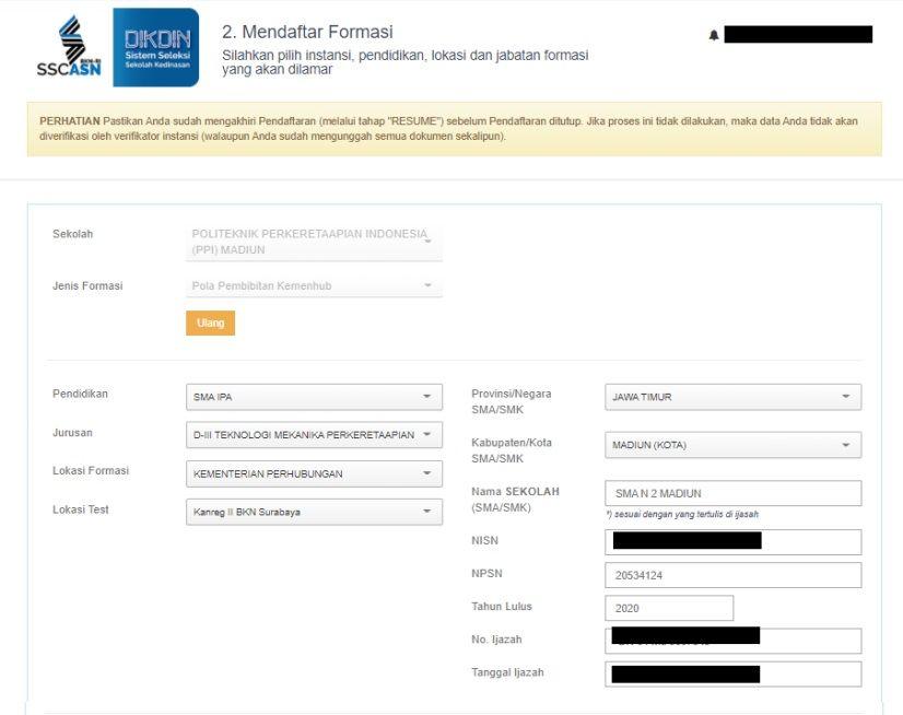 Form mendaftar formasi dalam seleksi sekolah kedinasan 2021