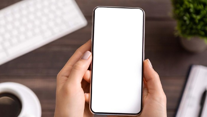 Woman demonstrating new modern smartphone with blank white screen for advertisement or application mockup