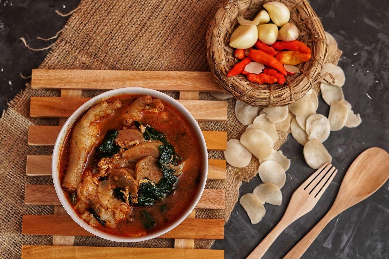 Traditional indonesian food call seblak ceker
