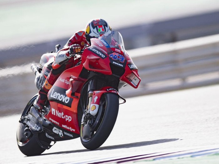 DOHA, QATAR - MARCH 27: Jack Miller of Australia and Ducati Lenovo Team heads down a straight during the MotoGP of Qatar - Qualifying at Losail Circuit on March 27, 2021 in Doha, Qatar. (Photo by Mirco Lazzari gp/Getty Images)
