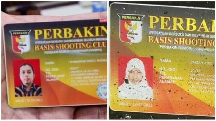 Kartu Basis Shooting Club yang disalahgunakan oleh Zakiah Aini dan Muhammad Farid Andika. Foto kolase dari dokumen istimewa