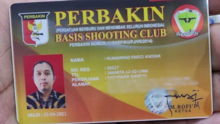 Karu Basis Shooting Club Muhammad Farid Andika, pengemudi Fortuner koboi di Duren Sawit. Foto dikirim Sekjen PB Perbakin Fitrian Judistawan.